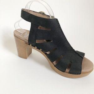Dansko Black Open Toe Heeled Sandals